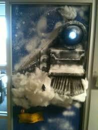 polar express decorated door decorated