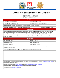 Oroville Ca Map Ca Dwr Oroville Dam Spillway Incident Update Thu May 4th 7am