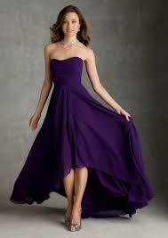 Purple Wedding Dresses Chiffon Bridesmaid Dress With A Hi Low Hemline Style 694 Morilee