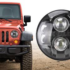 led jeep wrangler headlights xkglow 7in led headlight with black chrome front for jeep