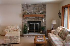 interior cool living room decor idea with grey stone brick wall