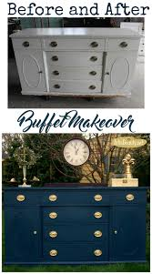 art is beauty steel blue antique buffet makeover themed