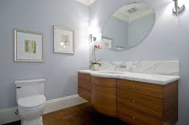 Beech Bathroom Furniture Floating Curved Vanity With Stained Horizontal Grain Beech Marble