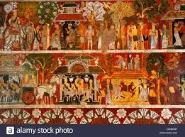 Wall Scenes by Theravada Buddhism Ancient Wall Paintings Various Scenes Stock