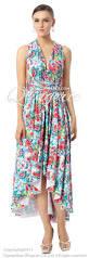 2017 changeable a line natural waist asymmetrical drape floral