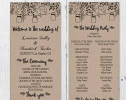 wedding bulletins templates rustic wedding programs etsy