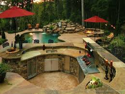 backyard designs with pool and outdoor kitchen garden design