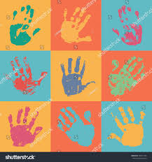 handprint poster flat style watercolor acrylic stock vector