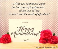 anniversary card greetings messages may you continue to enjoy the blessings of togetherness