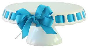 cake ribbon white pedstal cake stand and chip and dip set traditional