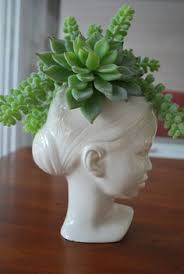 modern ceramic head planter by membil on etsy 34 99 head dress