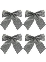 small silver bow decorations 6 x 80mm christmas decorations