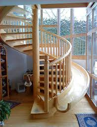 Wooden Spiral Stairs Design Interesting Spiral Staircase With Slide Wooden Beside It 3 Home