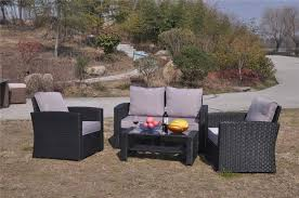 4 Seater Patio Furniture Set - yakoe 4 seater grey rattan sofa garden furniture patio set