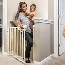 Baby Gate For Bottom Of Stairs With Banister Amazon Com Evenflo Easy Walk Thru Top Of Stairs Gate Indoor