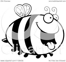 cartoon clipart of an outlined chubby hungry bee black and white