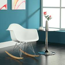 furniture white mid century modern rocking chair with metal and