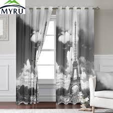 Gray Eclipse Curtains Myru 140 260 Cm 3d Eiffel Tower Window Curtains For Living Room