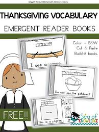 free thanksgiving vocabulary emergent reader activity books for