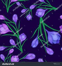 beautiful spring seamless pattern crocuses flowers stock vector
