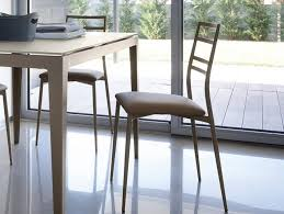 Slim Dining Chairs Domitalia Slim Modern Kitchen Chairs In White Or Taupe Finish