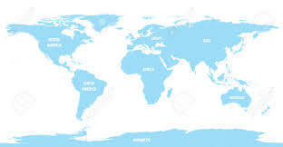Map Of The World Outline by World Map Of Continents With Outline Light Color Royalty Free