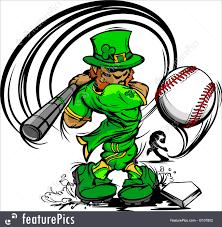 st patrick u0027s day leprechaun swinging baseball bat illustration