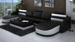 Rectangular Coffee Table Living Room - leather double chaise sectional in black and white plus rectangle