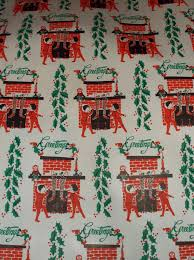 vtg christmas wrapping paper gift wrap 2 yards 1950 greetings