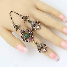 chain rings jewellery images Nobby flower double finger ring turkish women antique crystal jpg