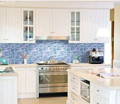 blue glass kitchen backsplash mosaic tile tiles subscribed me