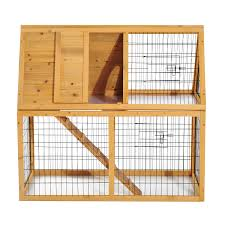 pawhut deluxe wooden rabbit hutch poultry cage aosom ca