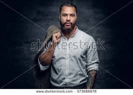 portrait bearded black tattooed arm stock photo 573886678