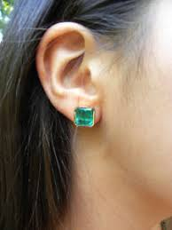 emerald stud earrings 7 24ct bright green square emerald stud