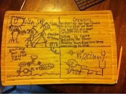 burned cutting board grandma gift kids drew on it and i burned it