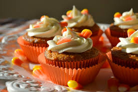 halloween candy cake carrot cake cupcakes with candy corn cream cheese frosting
