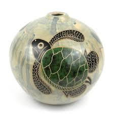 4 inch round vase green sea turtle handmade and fair trade