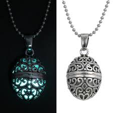 necklace pendants charms images New magic egg oval locket glow in the dark oil diffuser necklace jpg