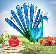 colorful blue peacock bird garden statue metal yard lawn