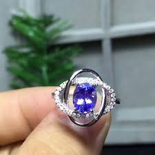 tanzanite stones rings images Natural blue tanzanite stone ring s925 silver natural gem ring jpg