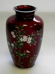Enamel Vase Japanese Cloisonne Enamel Vase C 1940 Cherry Blossoms C 1940