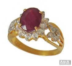 gold rings stones images Ruby and cz ring 22k gold asri54276 22k gold ring with jpg