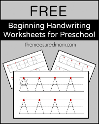 free beginning handwriting worksheets for preschool the