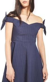topshop navy bow off the shoulder dress fourth of july