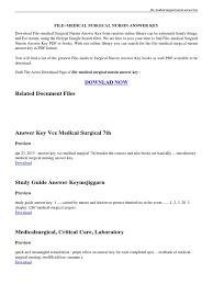 introduction to medical surgical nursing answer key pdf nursing
