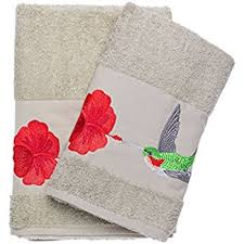 Hummingbird Bathroom Accessories by Amazon Com Bath Towel Set With Embroidered Hummingbird With