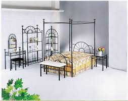 Romantic And Beautiful Iron Canopy Bed Modern Wall Sconces And - Black canopy bedroom furniture sets