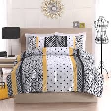 Light Blue And Yellow Bedroom Black Yellow And White Polka Dot Damask Striped Bedding Dream