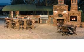 marvelous outdoor kitchen with stone design and good looking