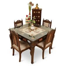 Dining Table With 4 Chairs Price Exclusivelane Teak Wood 4 Seater Dining Table U0026 Chair With Warli